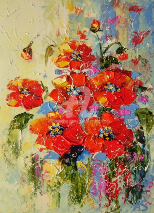 SCARLET; Original oil painting - Painting,  11.7x8.3x0.4 in, ©2017 by Alena Shymchonak -                                                                                                                                                                                                                                                                                                                                                                                                                                                      Abstract, abstract-570, Abstract Art, Botanic, Flower, Still life, poppies oil painting, scarlet poppies, flowers oil painting
