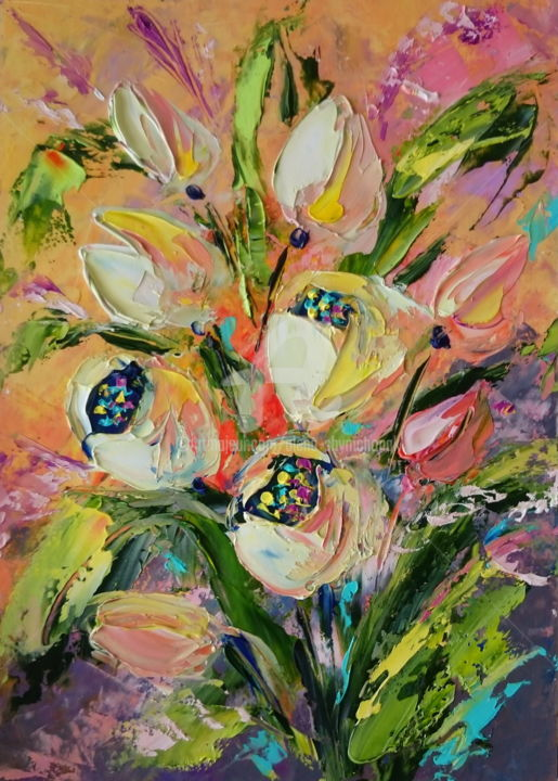 MY FAVORITE TULIPS: ORIGINAL OIL PAINTING, FRAMED - Painting,  30x21x0.1 cm ©2017 by Alena Shymchonak -                                                                                                            Expressionism, Impressionism, Realism, Paper, Botanic, Flower, Still life, tulips oil painting, tulips still life