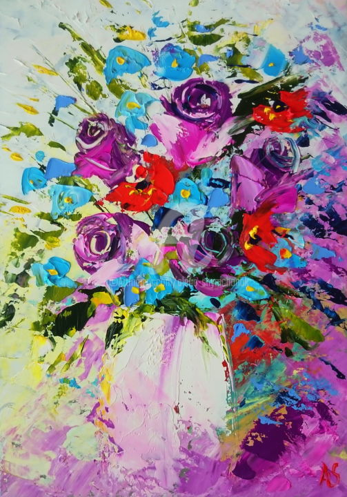 BOUQUET WITH ROSES; ORIGINAL  PAINTING - Painting,  30x21x0.2 cm ©2017 by Alena Shymchonak -                                                                                                                        Abstract Expressionism, Conceptual Art, Impressionism, Realism, Other, Botanic, Flower, Still life, bouquet of flowers, roses painting, original roses painting, floral paintings