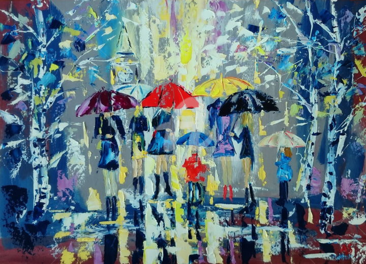 FIRST SNOW IN A BIG TOWN; ORIGINAL PAINTING;FRAMED - Painting,  50x70x0.2 cm ©2017 by Alena Shymchonak -                                                                                                                                                            Abstract Art, Conceptual Art, Contemporary painting, Expressionism, Impressionism, Other, Abstract Art, Cities, Cityscape, People, Women, umbrellas painting, people with umbrella, cityscape oil painting