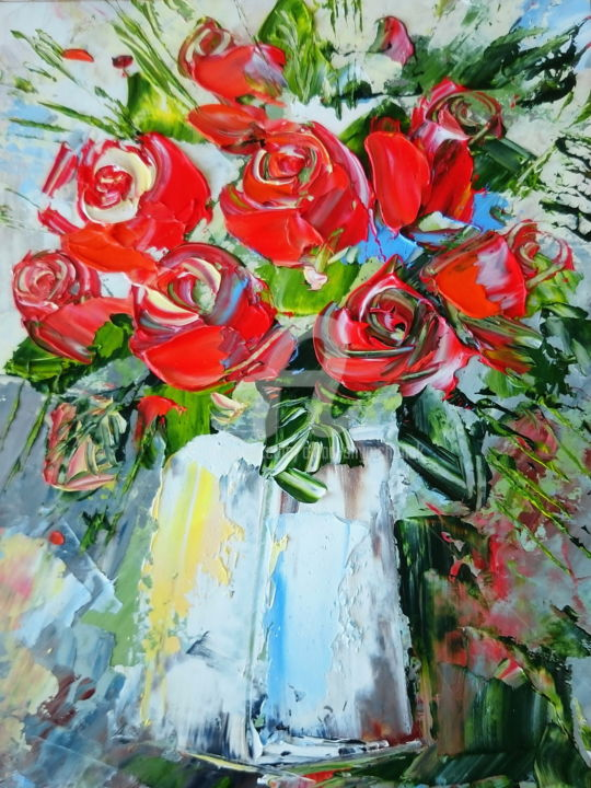 SMALL RED ROSES; GIFT IDEA; ORIGINAL OIL PAINTING - Painting,  24x18x0.2 cm ©2017 by Alena Shymchonak -                                                                                                        Abstract Expressionism, Expressionism, Impressionism, Other, Botanic, Flower, Still life
