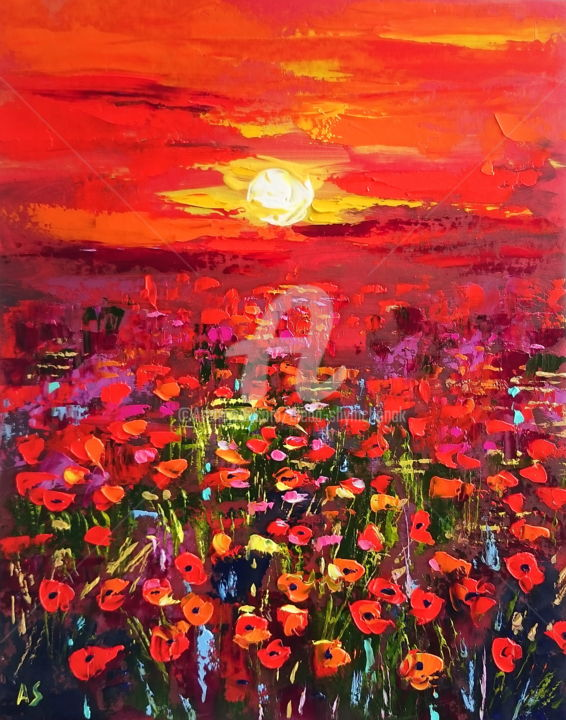 Magic poppies field; Original lanscape oil artwork - Painting,  19.7x15.8x0.1 in, ©2017 by Alena Shymchonak -                                                                                                                                                                                                                                                                                                                                                                                                                                                                                                      Abstract, abstract-570, Other, Botanic, Flower, Landscape, Seasons, poppies painting, poppies field, lanscape oil painting
