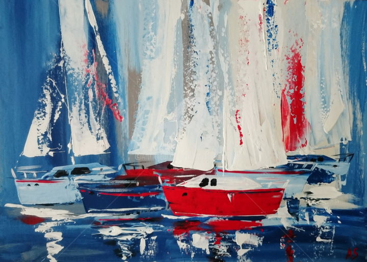 SHIPS WITH VANILLA SAILS; ORIGINAL PAINTING, FRAME - Painting,  50x70x0.2 cm ©2017 by Alena Shymchonak -                                                                                                                                                            Abstract Art, Abstract Expressionism, Conceptual Art, Contemporary painting, Impressionism, Other, Abstract Art, Boat, Sailboat, Seascape, Yacht, abstract seascape painting, original sailing boats, sail ships painting