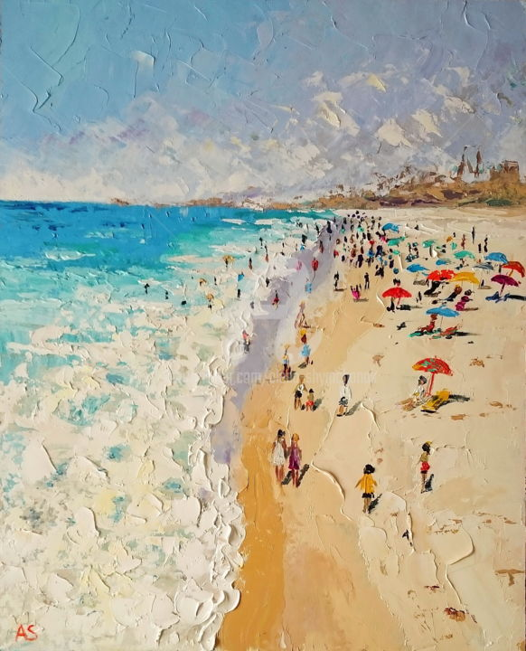 BEACH IN KEY WEST; ORIGINAL PALLETE KNIFE OIL PAIN - Painting,  19.7x15.8x0.1 in, ©2017 by Alena Shymchonak -                                                                                                                                                                                                                                                                                                                                                                                                                                                                                                                                                                                              Impressionism, impressionism-603, Other, Beach, Cities, Landscape, People, Seascape, beach oil painting, florida beach painting, florida painting, beach and people