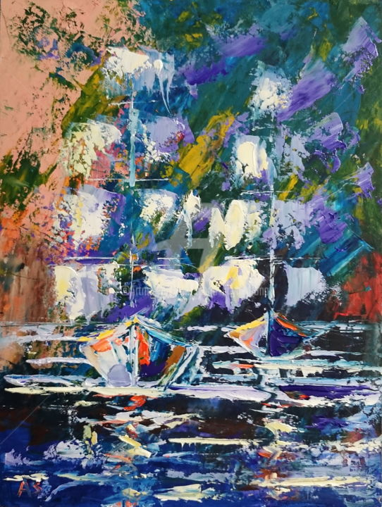 Night sailing; Original palette knife painting - Painting,  15.8x11.8x0.1 in, ©2017 by Alena Shymchonak -                                                                                                                                                                                                                                                                                                                                                                                                                                                                                                                                                                                                                                          Abstract, abstract-570, Other, Abstract Art, Beach, Boat, Sailboat, Seascape, seascape painting, ships painting, sailing, sailboats, abstract ships