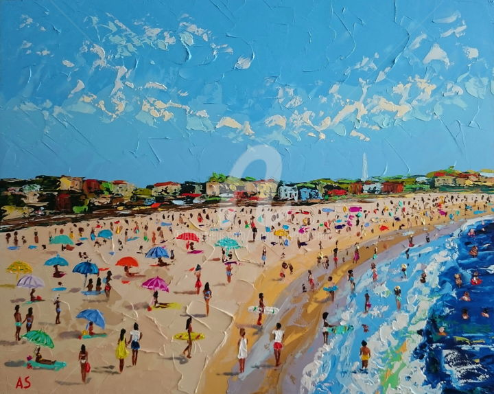 Bondi beach #2; Palette knife oil painting,framed - Painting,  15.8x19.7x0.1 in, ©2018 by Alena Shymchonak -                                                                                                                                                                                                                                                                                                                                                                                                                                                                                                                                                  Impressionism, impressionism-603, Other, Beach, Cities, Landscape, People, australian beach painting, beach oil painting, impressionism painting, beach and people