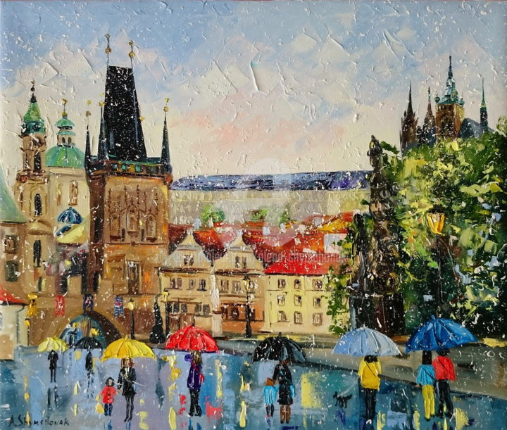My lovely Prague; Palette knife oil painting - Painting,  55x65x4.5 cm ©2018 by Alena Shymchonak -                                                                                                            Impressionism, Modernism, Realism, Canvas, Cities, Cityscape, People, Prague city, Prague oil painting, cityscape oil art, palette knife cityscape, impressionism cityscape