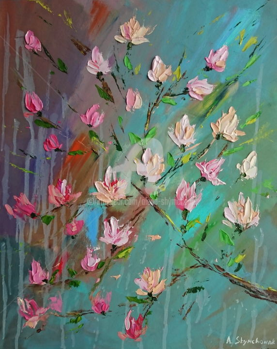 Magnolia; Palette knife oil painting - Painting,  50x40x0.2 cm ©2018 by Alena Shymchonak -                                                                                                                                    Conceptual Art, Contemporary painting, Impressionism, Modernism, Other, Botanic, Flower, Still life, Tree, magnolia oil painting, magnolia branch painting