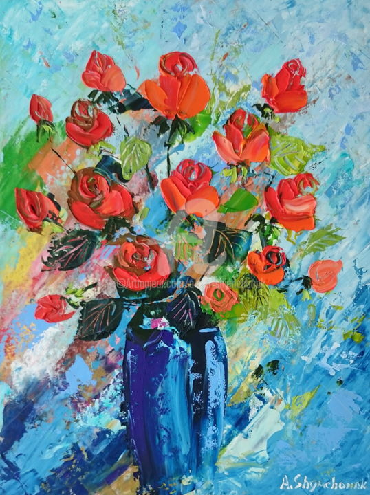 My roses; Palette knife oil painting - Painting,  15.8x11.8x0.1 in, ©2018 by Alena Shymchonak -                                                                                                                                                                                                                                                                      Figurative, figurative-594, Other, Still life, Flower