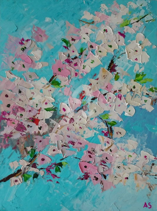 Abstract cherry; sakura oil painting - Painting,  15.8x11.8x0.1 in, ©2018 by Alena Shymchonak -                                                                                                                                                                                                                                                                                                                                                                                                                                                                                                      Abstract, abstract-570, Other, Abstract Art, Botanic, Flower, sakura branch painting, cherry oil painting, wild cherry, cherry bloomsood
