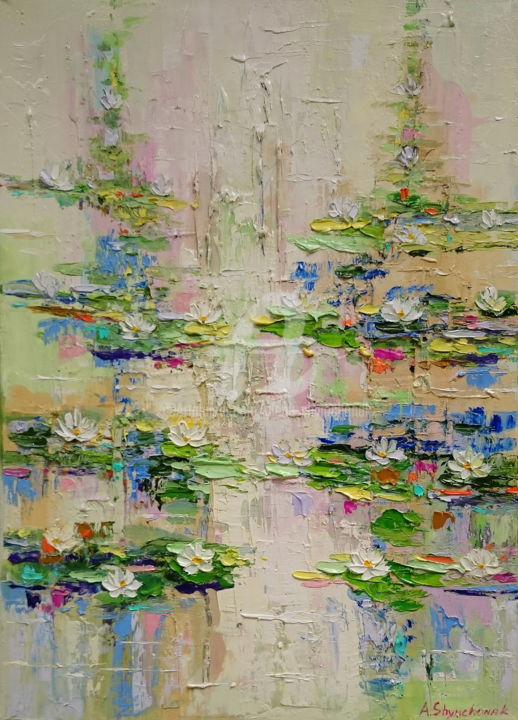 Waterlilies blossomed; Palette knife oil painting - Painting,  70x50x1.7 cm ©2018 by Alena Shymchonak -                                                                                                        Abstract Expressionism, Expressionism, Impressionism, Realism, Botanic, Flower, Landscape, water lilies painting, waterlilies pond, impressionism waterlilies