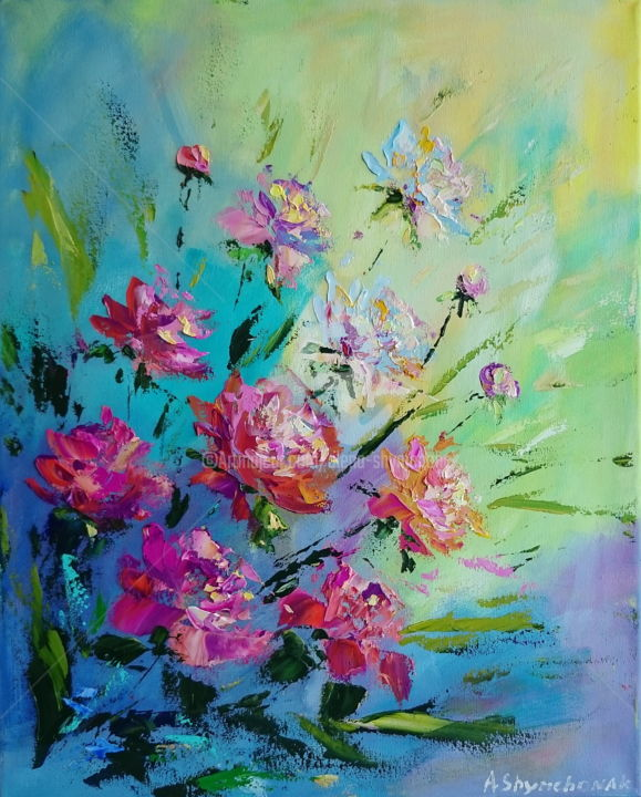 Peonies; Palette knife oil painting - Painting,  19.7x15.8x0.7 in, ©2018 by Alena Shymchonak -                                                                                                                                                                                                                                                                                                                                                                                                                                                      Expressionism, expressionism-591, Botanic, Flower, Still life, peonies painting, peonies still life, flowers palette knife, oil painting