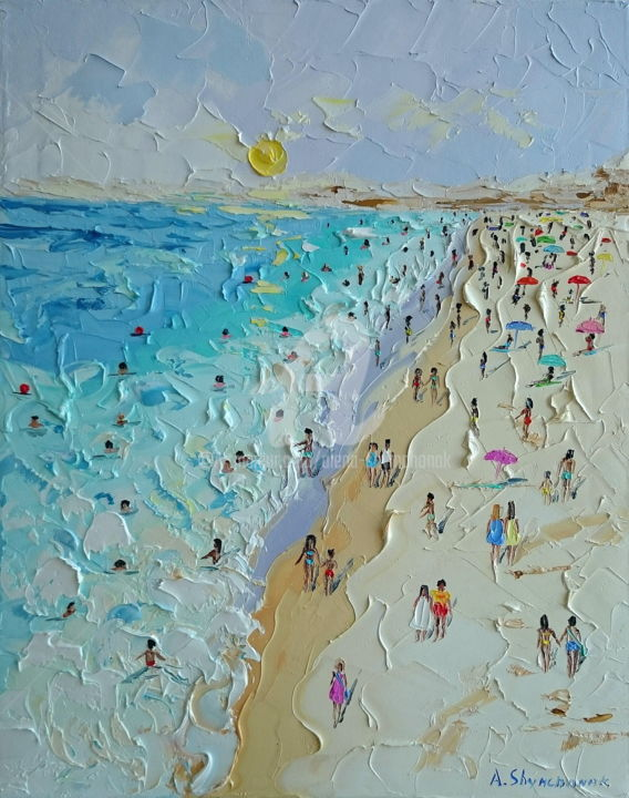 Happy summer day; Oil painting on canvas - Painting,  50x40x1.8 cm ©2018 by Alena Shymchonak -                                                                                            Conceptual Art, Contemporary painting, Impressionism, Realism, Beach, Seascape, beach oil painting, original beach art, beach scene painting, beach palette knife, texure oil painting, ocean beach painting
