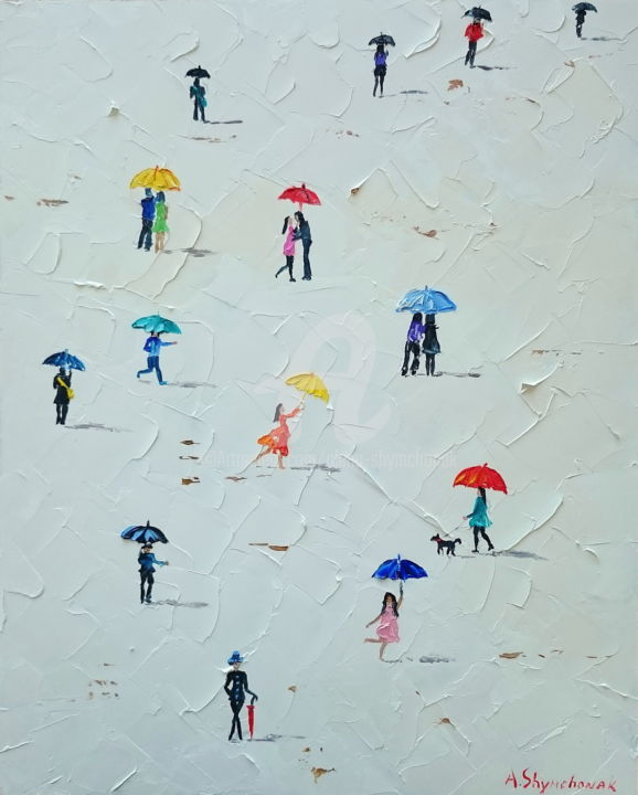 RESERVED TILL 24.07. Umbrellas - Painting,  50x40x0.2 cm ©2018 by Alena Shymchonak -                                                                                                        Conceptual Art, Contemporary painting, Impressionism, Realism, Other, Abstract Art, People