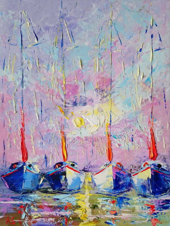 Magic; Original palette knife oil painting; framed - Painting,  15.8x11.8x0.1 in, ©2018 by Alena Shymchonak -                                                                                                                                                                                                                                                                                                                                                                                                                                                          Abstract, abstract-570, Other, Boat, Seascape, sailboats palette knife, seascape painting, palette knife seascape, ships oil painting