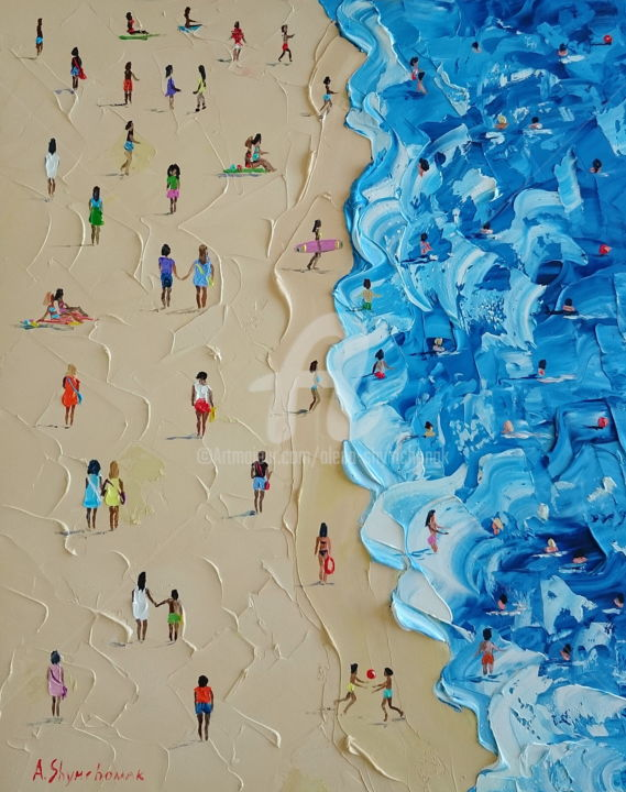 Lucky beach day; Palette knife oil painting - Painting,  50x40x0.2 cm ©2018 by Alena Shymchonak -                                                                                                                        Concrete Art, Contemporary painting, Impressionism, Realism, Other, Beach, People, Seascape, beach scene painting, beach oil painting, beach palette knife art, original oil painting, texure art, impressionism painting