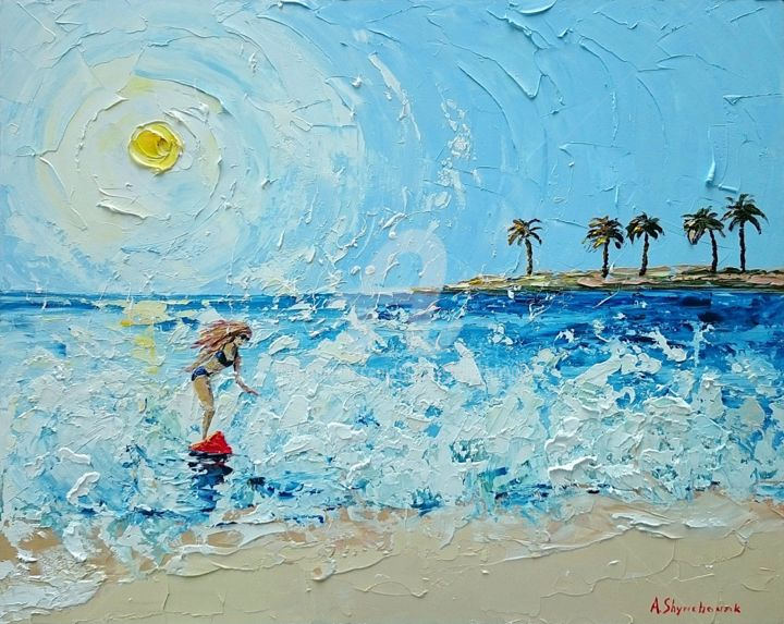 Game with a wave - Painting,  15.8x19.7x0.1 in, ©2018 by Alena Shymchonak -                                                                                                                                                                                                                                                                                                                                                                                                              Impressionism, impressionism-603, Other, Beach, Seascape, Women, surfer oil pinting, beach painting