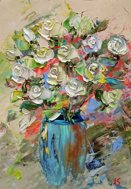 Sweet roses; Original palette knife ol painting - Painting,  11.8x8.3x0.1 in, ©2018 by Alena Shymchonak -                                                                                                                                                                                                                                                                                                                  Abstract, abstract-570, Other, Botanic, Flower, Still life