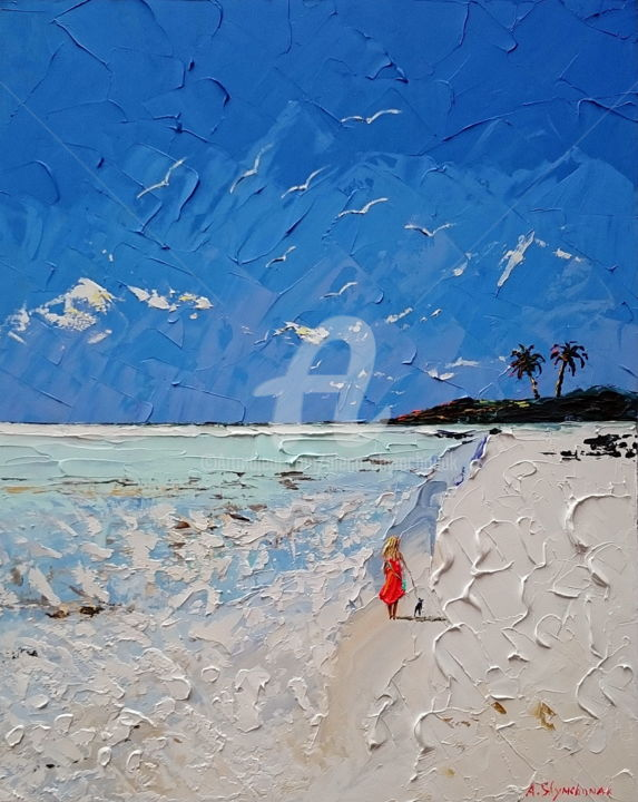 Lady with a dog; Palette knife oil painting - Painting,  50x40x0.2 cm ©2018 by Alena Shymchonak -                                                                                                                                    Expressionism, Impressionism, Realism, Other, Beach, Landscape, People, Seascape, Women, beach painting, ocean beach painting, beach palette knife, beach oil art, buy beach painting, seascape painting