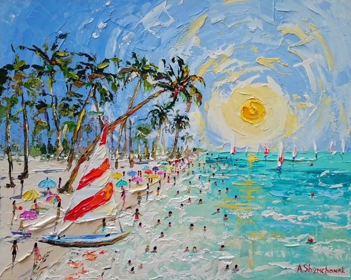 Summer in Key Largo; Palette knife oil painting - Painting,  40x50x0.2 cm ©2018 by Alena Shymchonak -                                                                                                                        Contemporary painting, Impressionism, Realism, Other, Beach, People, Sailboat, Seascape, beach oil painting, key largo beach, palette knife painting, buy oil painting, beach painting, beach sene painting