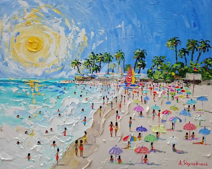 Arena Gorda Beach; Palette knife oil painting - Painting,  40x50x0.2 cm ©2018 by Alena Shymchonak -                                                                                                                        Concrete Art, Contemporary painting, Impressionism, Realism, Other, Beach, People, Seascape, beach oil painting, buy beach painting, original beach painting, beach scene painting, beach palette knife