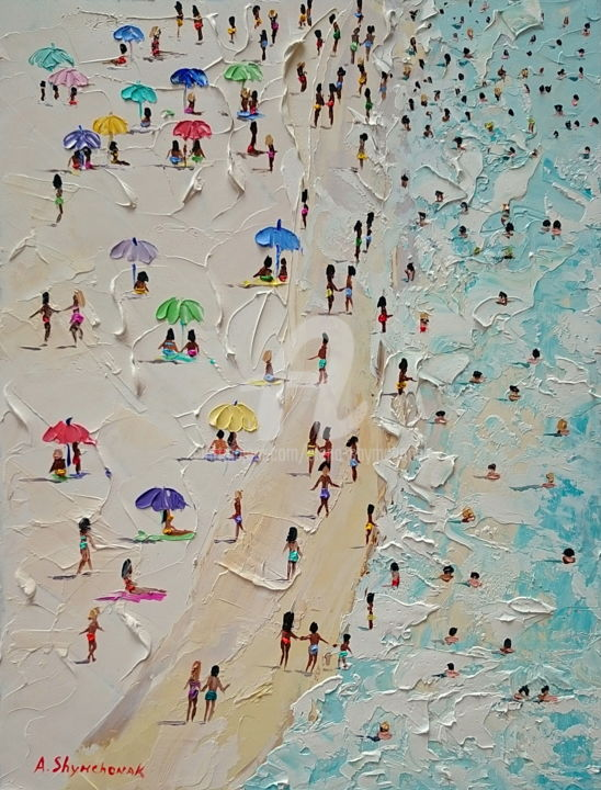 Lovely beach day; Palette knife oil painting - Painting,  15.8x11.8x0.1 in, ©2018 by Alena Shymchonak -                                                                                                                                                                                                                                                                                                                                                                                                                                                                                                                                                  Conceptual Art, conceptual-art-579, Other, Beach, People, Seascape, beach scene painting, beach oil painting, beach palette knife, buy beach painting, sale beach painting