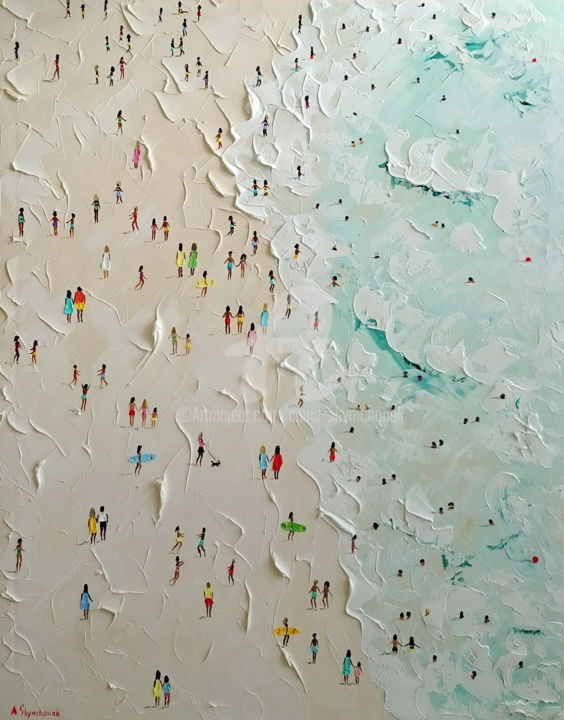 Lucky people ; Palette knife oil painting - Painting,  90x70x4.5 cm ©2018 by Alena Shymchonak -                                                                                                                        Conceptual Art, Contemporary painting, Impressionism, Realism, Canvas, Beach, People, Seascape, beach oil painting, buy beach painting, beach palette knife, beach scene painting, beach texure art