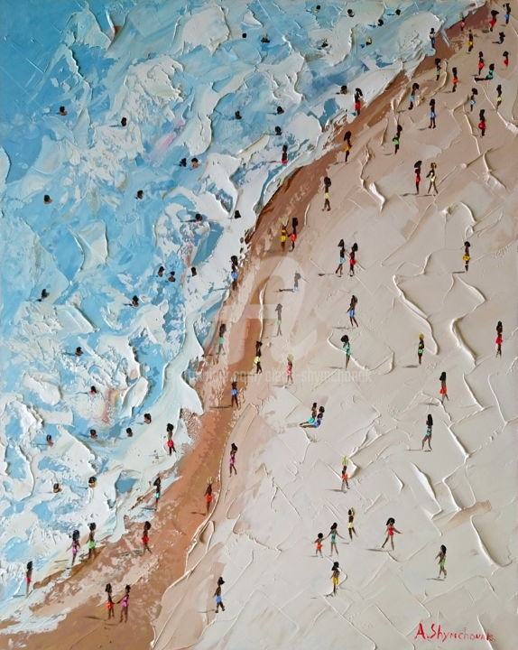 Great beach day; Palette knife oil painting - Painting,  50x40x0.2 cm ©2018 by Alena Shymchonak -                                                                                                            Contemporary painting, Impressionism, Realism, Other, Beach, People, Seascape, sea painting, seascape painting, beach scene painting, buy beach painting, beach palette knife