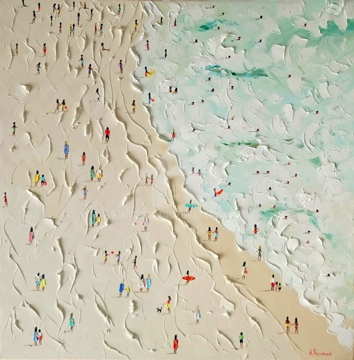 Commission painting for Rajni; Golden sand beach - Painting,  90x90x4 cm ©2018 by Alena Shymchonak -                                                                                    Impressionism, Realism, Canvas, People, Beach, beach oil painting, beach painting, beach palette knife, buy beach painting