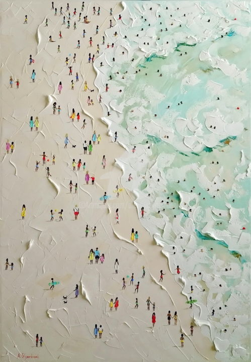 They are beautiful and lucky! - Painting,  100x70x4 cm ©2018 by Alena Shymchonak -                                                                                                                        Concrete Art, Contemporary painting, Impressionism, Realism, Canvas, Beach, People, Seascape, buy beach painting, beach palette knife, beach and people, beach texure painting, sale beach painting