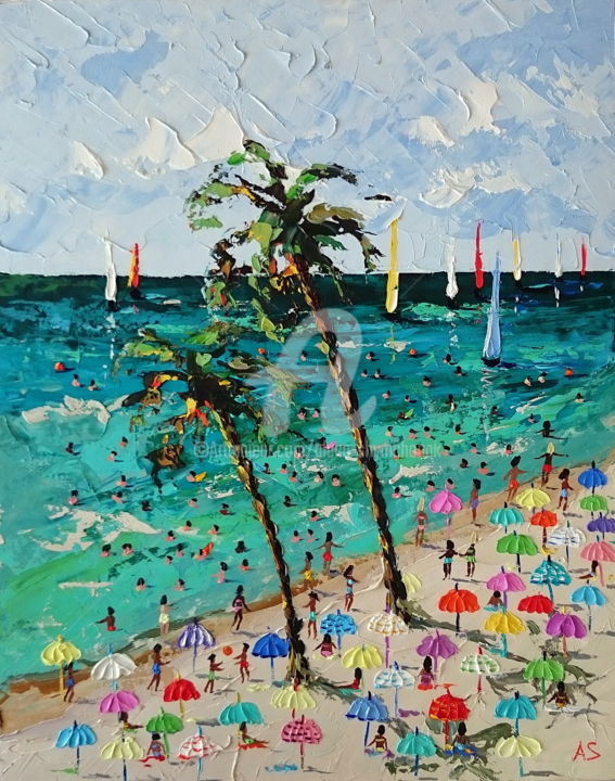 Azure beach; Original palette knife oil painting - Painting,  19.7x15.8x0.1 in, ©2018 by Alena Shymchonak -                                                                                                                                                                                                                                                                                                                                                                                                                                                                                                      Impressionism, impressionism-603, Other, Beach, Landscape, People, Seascape, beach scene painting, buy beach painting, beach palette knife