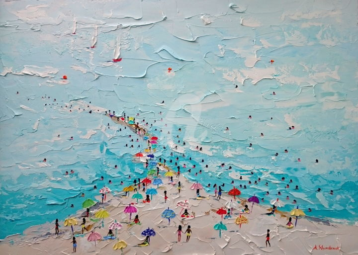 La Manga; Original palette knife oil painting - Painting,  50x70x0.2 cm ©2018 by Alena Shymchonak -                                                                                                                        Abstract Art, Impressionism, Realism, Other, Water, Seasons, Beach, Nature, beach painting sale, beach scene painting, beach painting artwork, palette knife beach