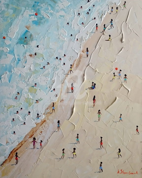 Ice cream; Original palette knife oil painting - Painting,  19.7x15.8x0.1 in, ©2018 by Alena Shymchonak -                                                                                                                                                                                                                                                                                                                                                                                                                                                                                                      Impressionism, impressionism-603, Other, Beach, People, Seascape, beach oil painting, palette knife beach, beach scene painting, buy beach painting