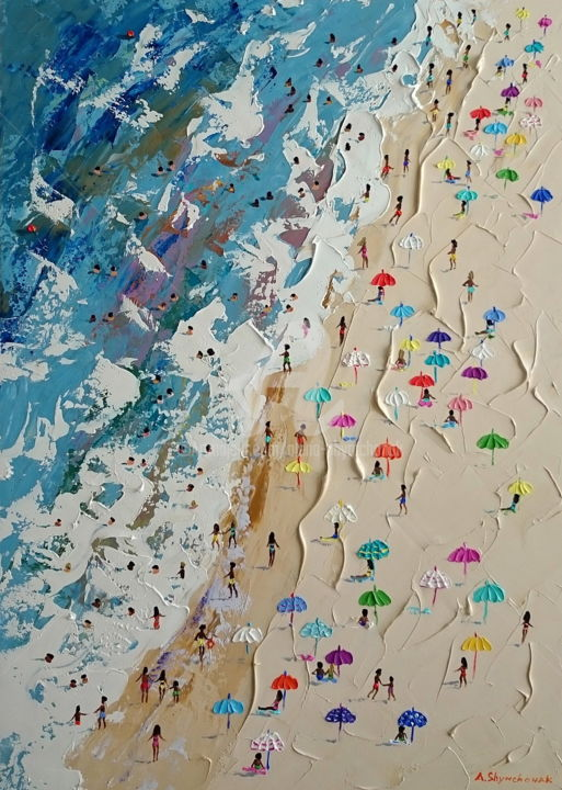 Kaleidoscope; Original palette knife oil painting - Painting,  70x50x0.2 cm ©2018 by Alena Shymchonak -                                                                                                                                    Figurative Art, Impressionism, Realism, Other, Seasons, People, Seascape, Landscape, Beach, buy beach scene, buy beach painting, beach palette knife, beach painting sale