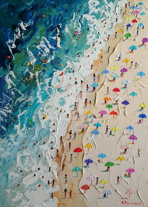 Positive; Original palette knife oil painting - Painting,  27.6x19.7x0.1 in, ©2018 by Alena Shymchonak -                                                                                                                                                                                                                                                                                                                                                                                                                                                                                                                                                                                                                                          Conceptual Art, conceptual-art-579, Other, Beach, People, Seascape, buy beach painting, beach scene painting, beach palette knife, beach and people, seascape painting, beach oil art, beach original painting