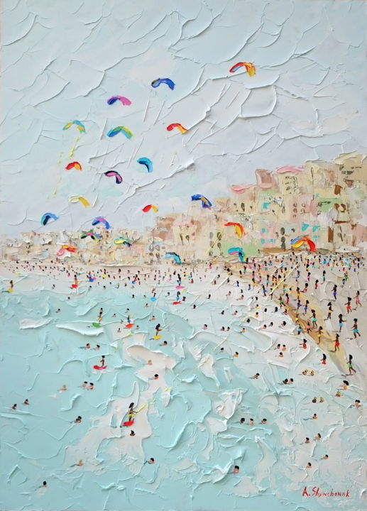 Funny kitesurfing day; Palette knife oil painting - Painting,  70x50x0.2 cm ©2018 by Alena Shymchonak -                                                                                                                                    Conceptual Art, Contemporary painting, Impressionism, Realism, Other, Beach, Landscape, Nature, Seascape, beach scene painting, buy beach painting, beach original art, beach palette knife