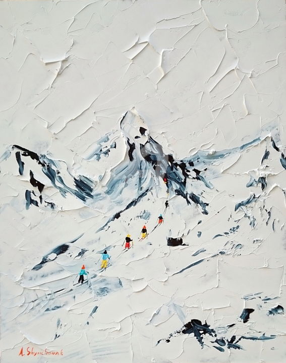 Mont blanc; Original palette knife oil painting - Painting,  50x40x0.2 cm ©2018 by Alena Shymchonak -                                                                                                                        Conceptual Art, Contemporary painting, Expressionism, Impressionism, Realism, Other, Black and White, Landscape, mountains painting, skiers oil painting, winter landscape painting, buy lanscape painting