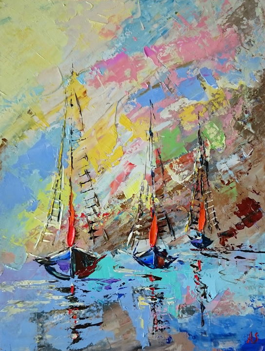 Sailing boats; Original palette knife oil painting - Painting,  40x30x0.2 cm ©2018 by Alena Shymchonak -                                                                                                                                    Abstract Expressionism, Documentary, Figurative Art, Impressionism, Realism, Other, Water, Ships, Seascape, sailing boats painting, ships oil painting, sjips palette knife, buy seascape painting, sale ships painting