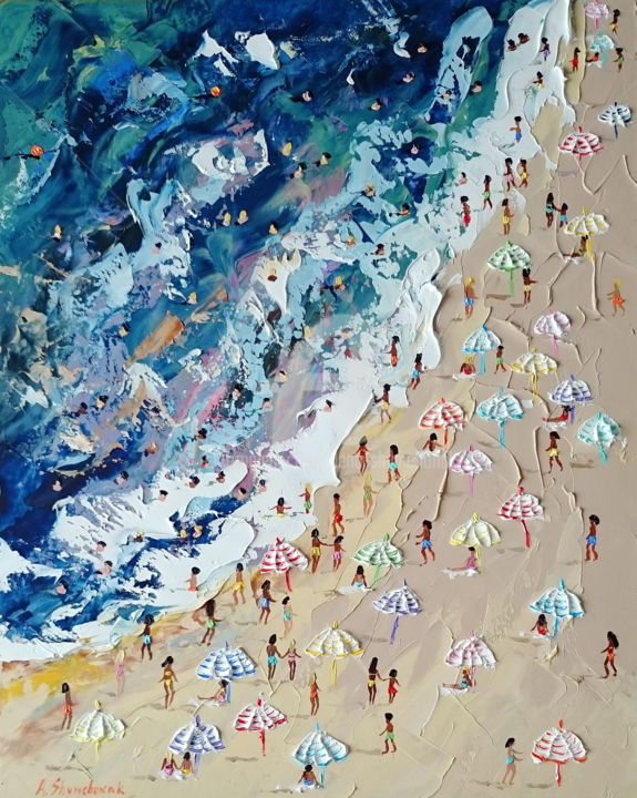 Striped umbrellas; Palette knife oil painting - Painting,  50x40x0.2 cm ©2018 by Alena Shymchonak -                                                                                                                                    Conceptual Art, Contemporary painting, Impressionism, Realism, Other, Beach, Landscape, Nature, Seascape, buy beach painting, beach palette knife, beach texure art, beach scene painting