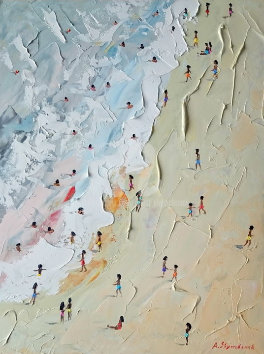 Del Mar; Original palette knife oil painting - Painting,  40x30x0.2 cm ©2018 by Alena Shymchonak -                                                                                                                                                Conceptual Art, Contemporary painting, Impressionism, Realism, Other, Beach, Landscape, Nature, People, Seascape, beach oil painting, buy beach painting, beach scene paiting, sale beach art, beach palette knife
