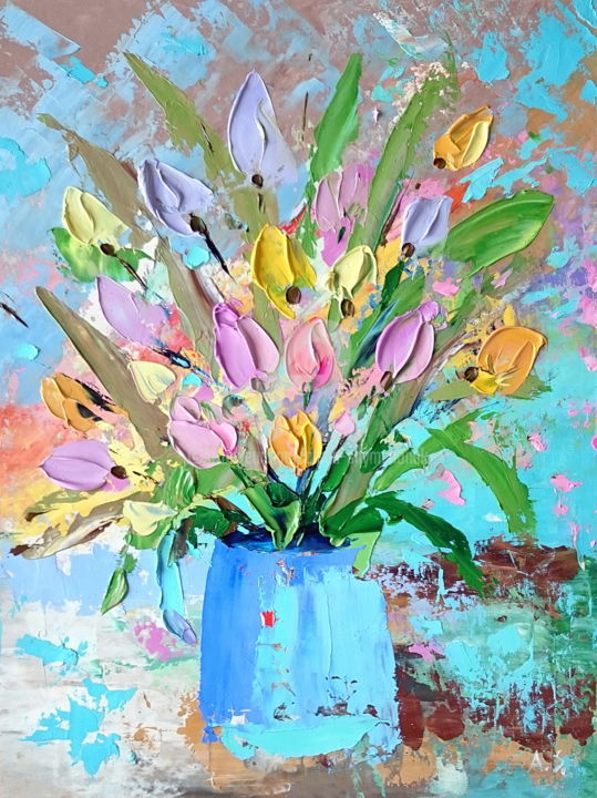 Lovely tulips; Original palette knife oil painting - Painting,  15.8x11.8x0.1 in, ©2018 by Alena Shymchonak -                                                                                                                                                                                                                                                                                                                                                                                                                                                                                                                                                  Abstract, abstract-570, Other, Botanic, Flower, Still life, tulips palette knife, buy tulips flowers, tulips oil painting, sale oil painting, bouguet of tulips