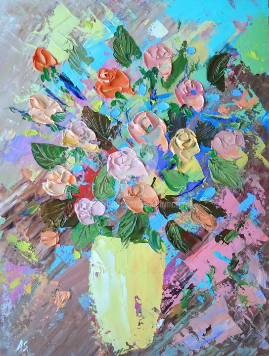 Roses in a yellow vase - Painting,  40x30x0.2 cm ©2018 by Alena Shymchonak -                                                                                                Impressionism, Realism, Other, Botanic, Flower, Still life, roses painting, roses in vase, roses palette knife, roses still life, buy roses painting