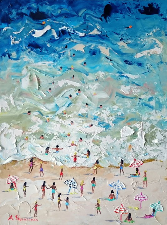 Do you miss the summer? - Painting,  40x30x0.2 cm ©2018 by Alena Shymchonak -                                                                                                                                    Abstract Expressionism, Figurative Art, Impressionism, Realism, Other, Seasons, Seascape, Landscape, Beach, buy beach painting, beach palette knife, beach original art, beach scene painting, sale beach painting