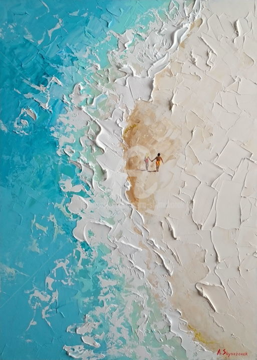 Sound of waves; Palette knife oil painting - Painting,  70x50x0.2 cm ©2018 by Alena Shymchonak -                                                                                                                                                Abstract Expressionism, Conceptual Art, Contemporary painting, Impressionism, Realism, Other, Beach, Landscape, People, Seascape, buy beach painting, paradise beach art, ocean painting, beach scene painting, sale beach art, beach paltte knife, original beach painting, oil painting, ocean oil painting