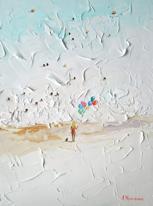 Girl with the balloons; Palette knife oil painting - Painting,  40x30x0.2 cm ©2018 by Alena Shymchonak -                                                                                                                                    Documentary, Figurative Art, Impressionism, Realism, Other, Seasons, Women, Seascape, Beach, beach scene painting, beach oil painting, beach palette knife