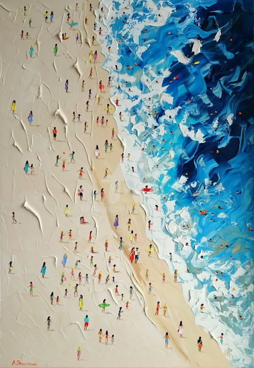 Playa Del Carmen; Palette knife oil painting - Painting,  39.4x27.6x1.6 in, ©2018 by Alena Shymchonak -                                                                                                                                                                                                                                                                                                                                                                                                                                                                                                                                                                                                                                      Conceptual Art, conceptual-art-579, Beach, Landscape, Nature, People, Seascape, buy beach painting, sale beac art, beach palette knife, original beach artwork, beach texure painting, beach scene painting