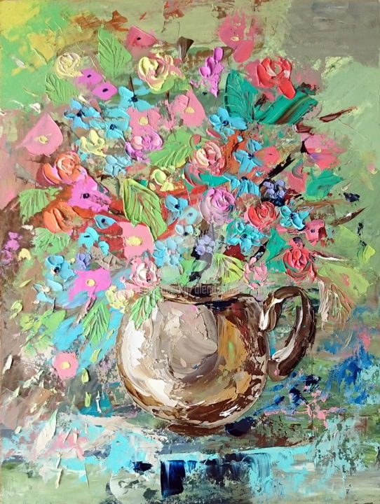 Wild flowers in a brown vase; Framed - Painting,  40x30x0.2 cm ©2018 by Alena Shymchonak -                                                                                                                        Conceptual Art, Expressionism, Impressionism, Realism, Other, Botanic, Flower, Still life, wild flowers painting, buy flowers painting, flowers original art, flowers palette knife, flowersa oil painting