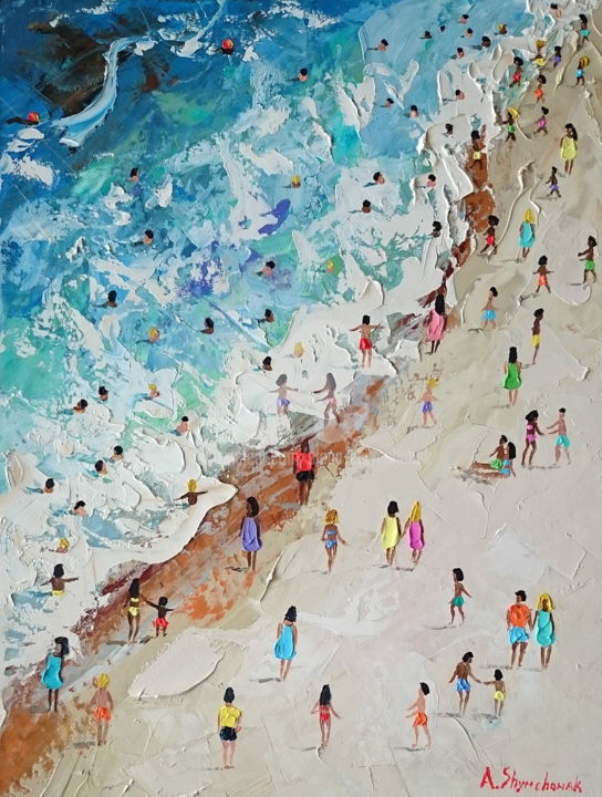 La Сoncha beach; Palette knife oil painting - Painting,  40x30x0.2 cm ©2018 by Alena Shymchonak -                                                                                                                        Conceptual Art, Contemporary painting, Expressionism, Other, Beach, Landscape, People, Seascape, buy beach painting, original beach painting, beach palette knife, ocean beach painting, beach and people, sale beach art, beach scene painting
