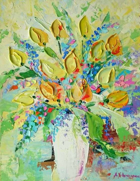 Summer mood; Original palette knife oil painting - Painting,  40x30x0.2 cm ©2018 by Alena Shymchonak -                                                                                                                        Art Deco, Contemporary painting, Impressionism, Realism, Other, Botanic, Flower, Still life, buy tulips flowers, tulips  oil painting, sale flowers painting, still life painting, flowers palette knife, original flowers art
