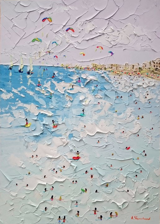 My lovely kitesurfing day; Palette knife oil art - Painting,  70x50x0.2 cm ©2018 by Alena Shymchonak -                                                                                                                                                Conceptual Art, Contemporary painting, Expressionism, Impressionism, Realism, Other, Beach, Landscape, People, Seascape, seascape oil painting, ocean beach painting, beach scene painting, beach palette knife, original beach painting, buy beach painting